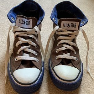 NWOT Brown and blue hightop Converse sneakers